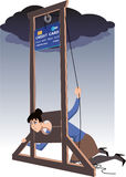 Credit card guillotine. Depressed woman lying in a guillotine and releasing a blade in a form of giant credit card, vector cartoon Royalty Free Stock Image