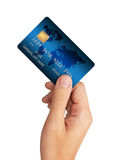 Credit Card in hand. Isolated on white background Royalty Free Stock Images