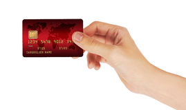 Credit Card in hand. Isolated on white background Royalty Free Stock Image