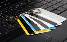 Credit card of handcuffs Royalty Free Stock Photos