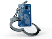 Credit card with handcuffs. Isolated on white background. 3d illustration Stock Photo
