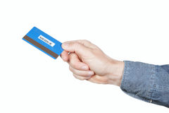 Credit card in the hands of men. Royalty Free Stock Photo