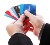Credit card in the hands of women Stock Photos