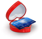 Credit Card in the heart box (clipping path included) Stock Photography