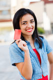 Credit Card Held by Girl Stock Photos