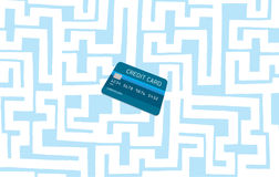 Credit card hidden in complex maze or labyrinth Stock Photos