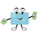 Credit Card Holding Money. Character credit card with face and hands holding money vector illustration