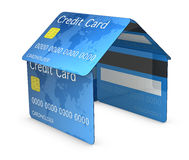 Credit card house. House made with credit cards (3d render Stock Photos
