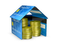 Credit card house. One house made with credit cards, with stacks of coins (3d render Royalty Free Stock Photos
