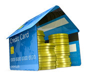 Credit card house. One house made with credit cards, with stacks of coins (3d render Royalty Free Stock Image