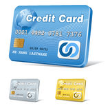 Credit card icon. Vector realistic credit card icon, blue,gold and silver versions