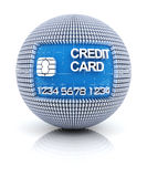 Credit card icon on globe formed by dollar sign Royalty Free Stock Images