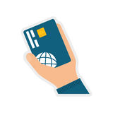 Credit card icon. Money and Financial item. Vector graphic. Money and Financial item concept represented by credit card icon. isolated and flat illustration Royalty Free Stock Photos
