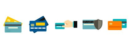 Credit card icon set, flat style. Credit card icon set. Flat set of credit card vector icons for web design isolated on white background Royalty Free Stock Image