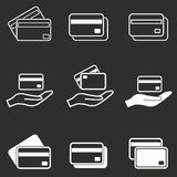 Credit card icon set. Credit card vector icons set. White illustration isolated on black background for graphic and web design Royalty Free Stock Photo