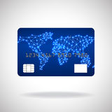 Credit card icon with world map. On white background. Vector illustration Stock Photography