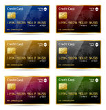 Credit Card Icons. Realistic gold framed credit card icon in 6 different colors. EPS 10 with transparencies. Transparent shadows placed on layer beneath Stock Photos