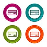 Credit card icons. Payment signs. Shopping symbol. Colorful web button with icon.  stock illustration
