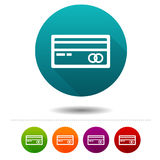 Credit card icons. Payment signs. Shopping symbol. Vector Circle web buttons. Royalty Free Stock Photography