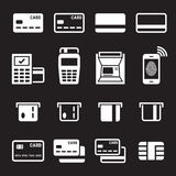 Credit card icons set. White on a black background Royalty Free Stock Photos