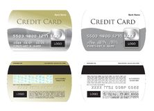 Credit card illustration. Curved edge gold credit card vector illlustration stock illustration