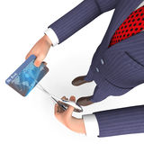 Credit Card Indicates Business Person And Bought 3d Rendering Stock Image