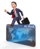 Credit Card Indicates Debit Finance And Man 3d Rendering. Credit Card Meaning Business Person And Buyer 3d Rendering Royalty Free Stock Photography