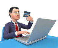 Credit Card Indicates World Wide Web And Businessman 3d Rendering. Credit Card Representing World Wide Web And Business Person 3d Rendering Stock Photography