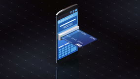 Credit card insert a smartphone,online payments stock video footage