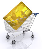 Credit Card International. Concept of payment with credit card. Shopping cart with card inside Royalty Free Stock Images