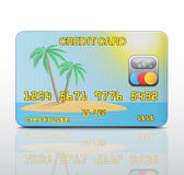 Credit card with the island image. Vector Stock Photo