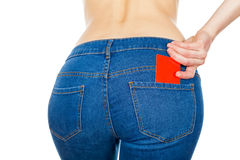 Credit card in jeans Royalty Free Stock Image