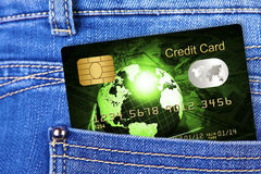 Credit card in jeans trousers pocket Stock Photography