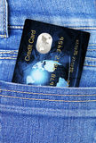 Credit card in jeans trousers pocket Royalty Free Stock Photos
