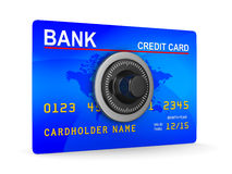 Credit card with key. 3D image Stock Image