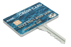 Credit card key, security payment concept. 3D rendering. Credit card key, security payment concept Royalty Free Stock Photo