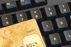 Credit card an keyboard Royalty Free Stock Photos