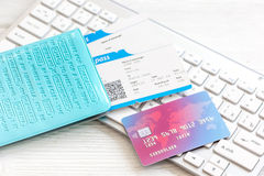Credit card on keyboard - buy tickets online Royalty Free Stock Photos