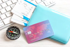 Credit card on keyboard - buy tickets online Royalty Free Stock Images