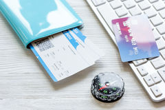 Credit card on keyboard - buy tickets online Royalty Free Stock Photo