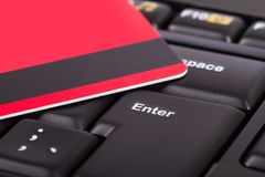 Credit Card on Keyboard Stock Photo