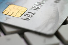 Credit Card On Keyboard Stock Photos
