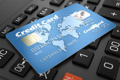 Credit card on keyboard Royalty Free Stock Images