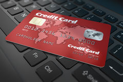 Credit card on keyboard Stock Photos
