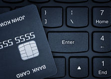Credit card on a keyboard. Royalty Free Stock Photography