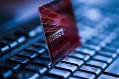 Credit card on keyboard Royalty Free Stock Photography