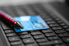 Credit card on keyboard Royalty Free Stock Photos