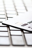 Credit Card On Keyboard Stock Images