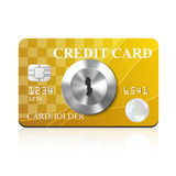 Credit card with keyhole. Vector illustration Royalty Free Stock Photo