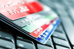 Credit card on laptop keyboard Royalty Free Stock Photo